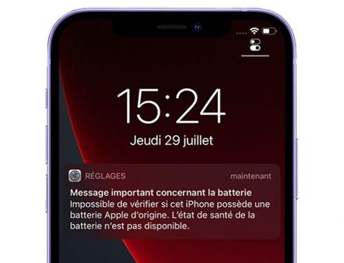 L'apparition de message lors du changement d'une batterie ou d'un écran sur iPhone